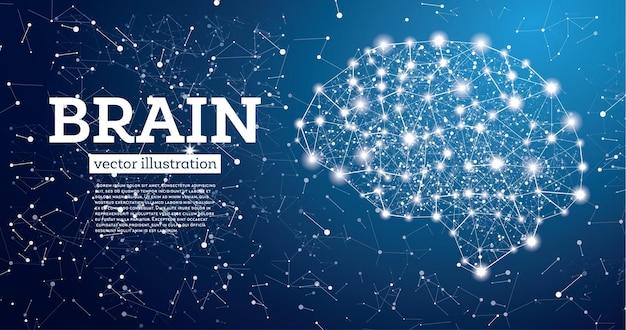 青い背景のネオン脳接続。ベクトルイラスト。