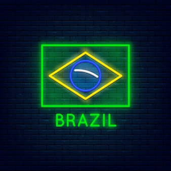 Neon brazil minimalist flag at brick wall