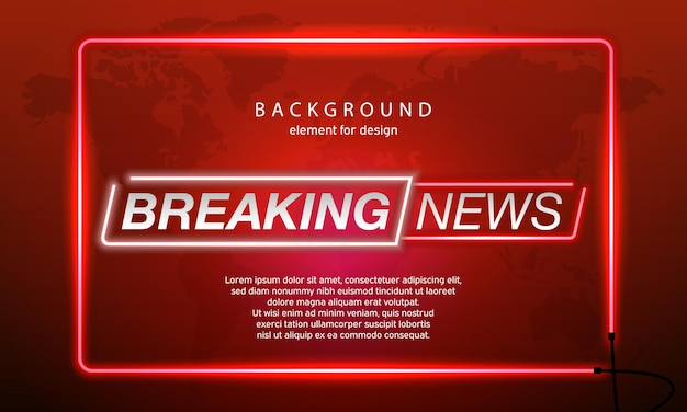 Neon breaking news planet on world map background