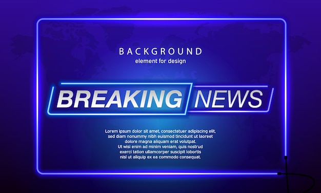 Neon breaking news on world map background