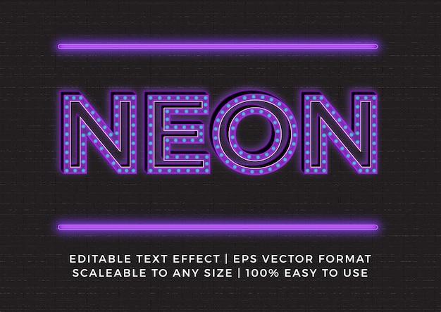 Neon bulb light title text effect