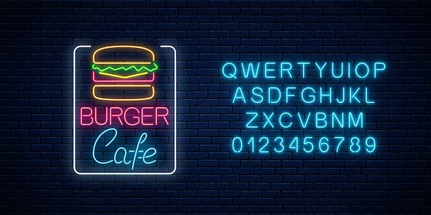 Neon burger cafe glowing signboard on a dark brick wall