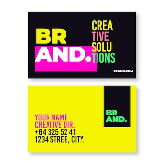 Neon business cards pack