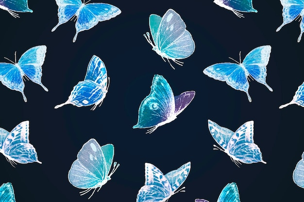 Neon butterfly pattern background, holographic blue design on black vector