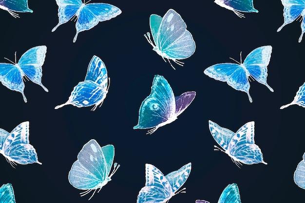 ネオン蝶パターンの背景、黒のベクトルのホログラフィック青いデザイン