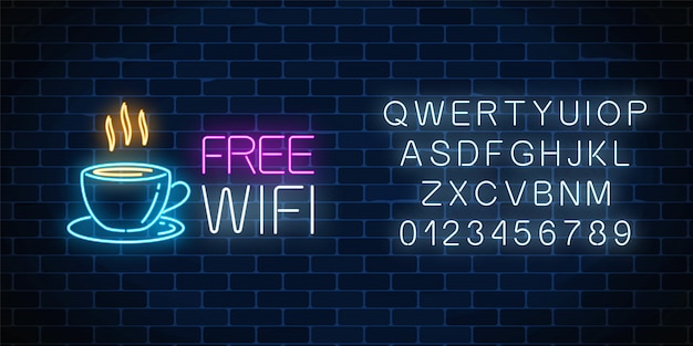 Neon cafe signboard with free wifi zone