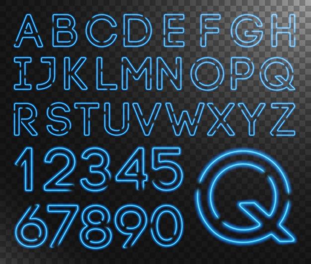 Neon capital letters collection Premium Vector
