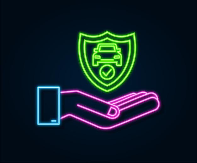 Документ договора страхования автомобиля неоновый над руками. значок щита. защита. векторная иллюстрация штока.