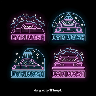 Neon car wash sign collection