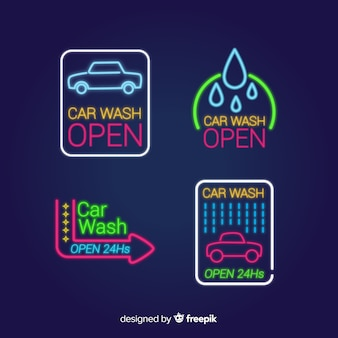 Neon car wash sign pack