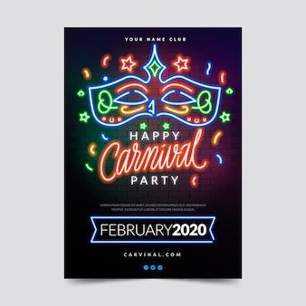 Neon carnival party in colourful lights