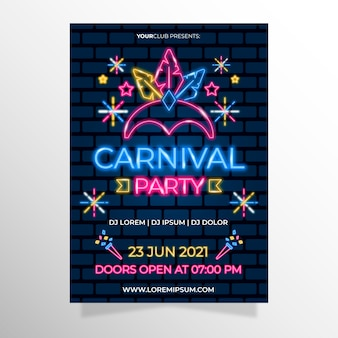Neon carnival party with crown of lighten feathers