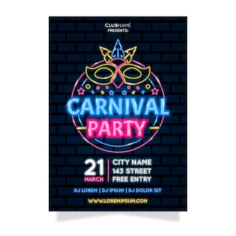 Neon carnival party with lighten mask