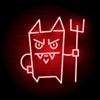 Neon cartoon devil
