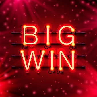 Neon casino big win signboard on the red background. vector illustration