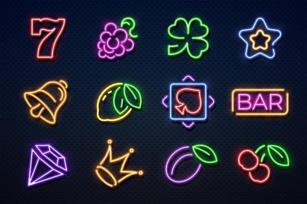Неоновые вывески казино. игровой автомат, игральные карты, вишня и сердечки, игровой автомат с джекпотом. казино неоновые иконки
