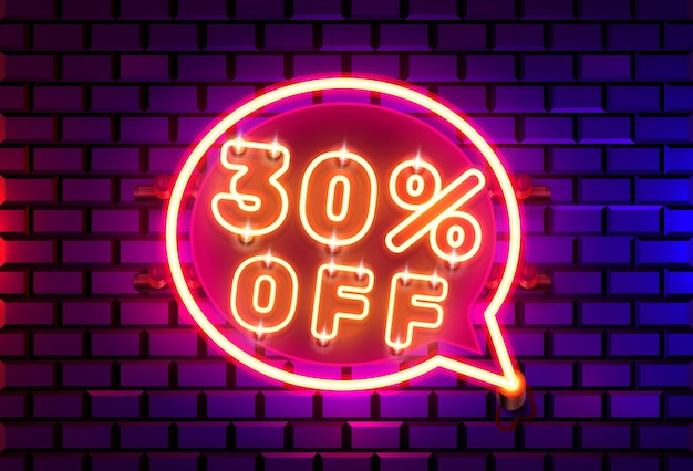 Neon chat frame 30 off text banner. night sign board.