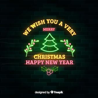 ネオンクリスマスと新年の背景 無料ベクター