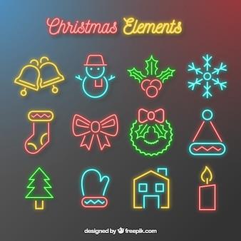 Neon christmas attributes