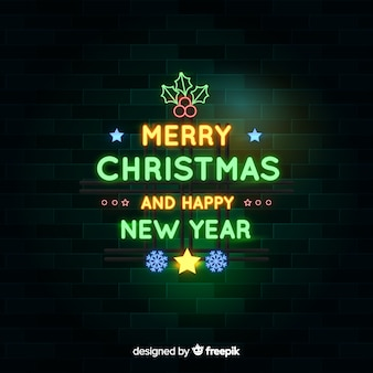 Neon christmas background and happy new year