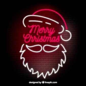 Неоновый рождественский фон с санта-клаусом