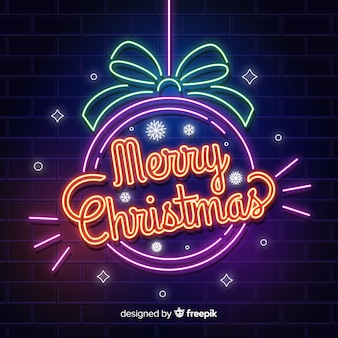 Neon christmas background