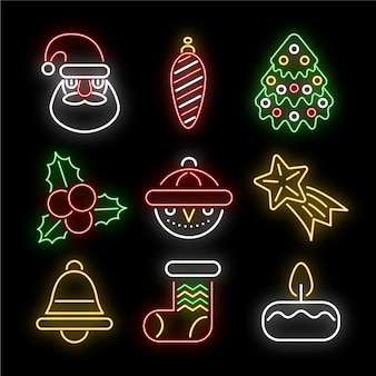 Neon christmas element collection on black background