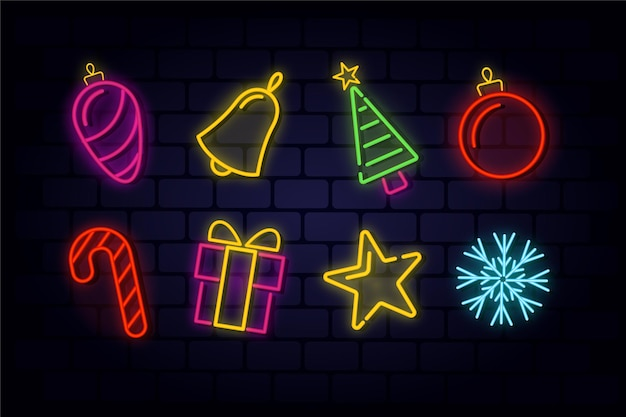 Neon christmas element collection