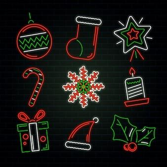 Коллекция неоновых рождественских элементов