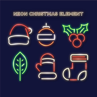 Neon christmas elements collection