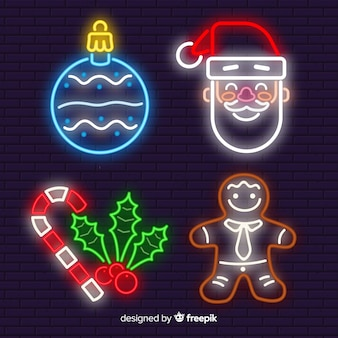 Neon christmas elements pack