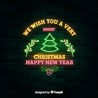 Neon christmas and happy new year background
