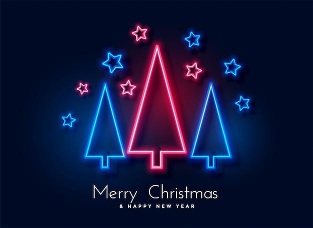 ネオンのクリスマスツリーと星の背景