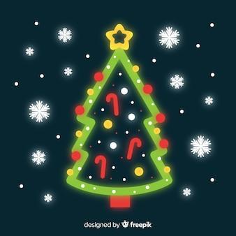 ネオンクリスマスツリーの背景