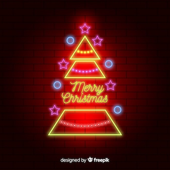 Neon christmas tree background