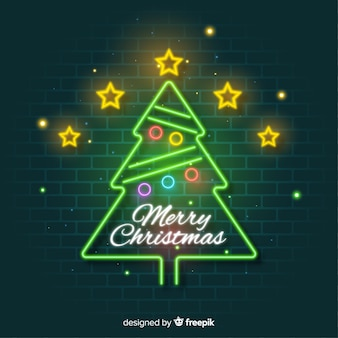 Neon christmas tree background