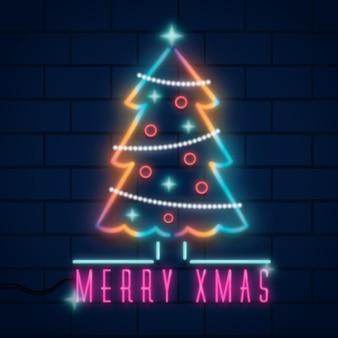 ネオンのクリスマスツリーの概念