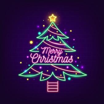 ネオンのクリスマスツリーが飾られました Premiumベクター