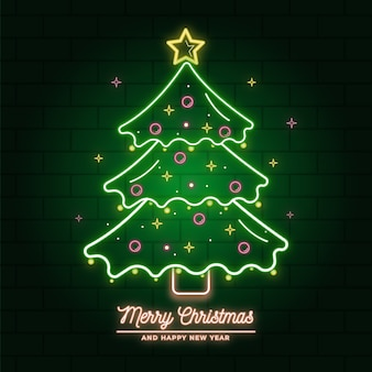 Neon christmas tree illustration