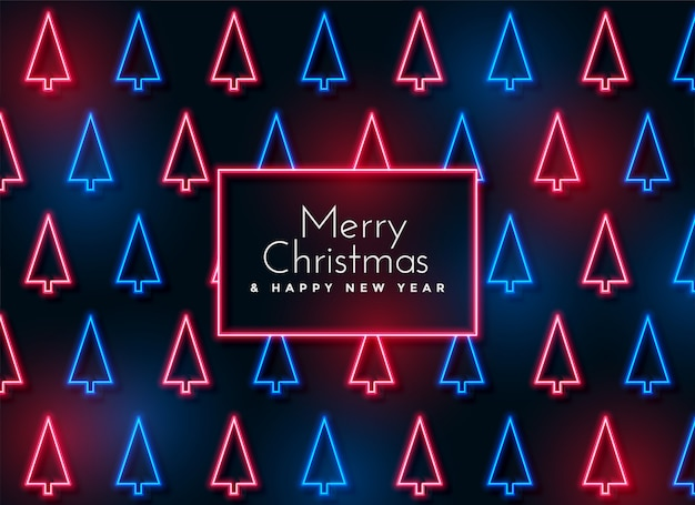 Neon christmas tree pattern background