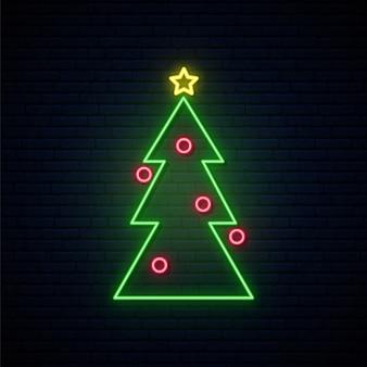 ネオンクリスマスツリーの標識。 Premiumベクター
