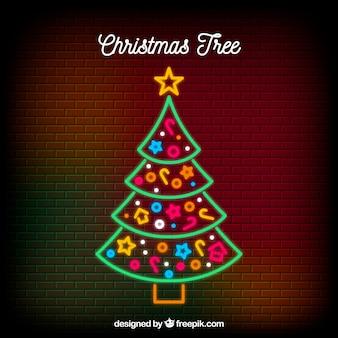 星付きネオンクリスマスツリー