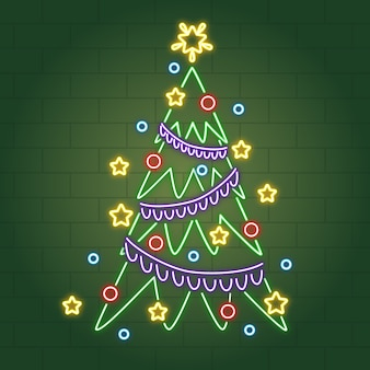 Neon christmas tree with christmas balls and tinsel