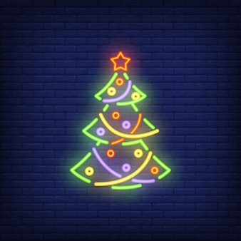 Neon Christmas tree with ornaments. Festive element.