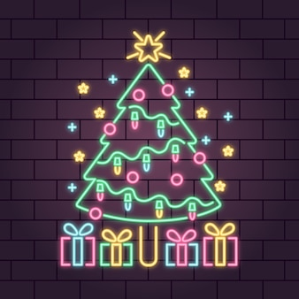 Neon christmas tree with snowflakes and gift boxes