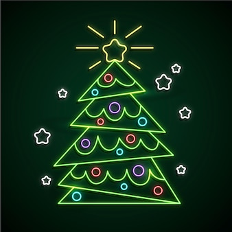 Neon christmas tree with snowflakes
