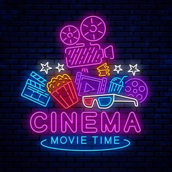 Neon cinema elements