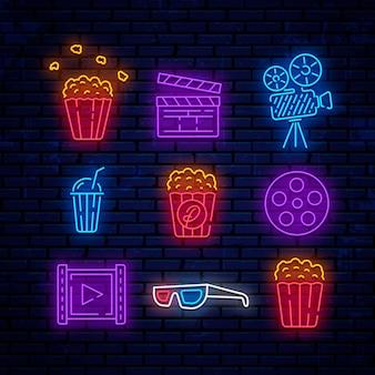Neon cinema logos