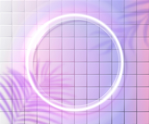 Neon circle frame on pink tiles wall, white glowing frame. tropic palm leaves shadow overlay. trendy shiny background design.