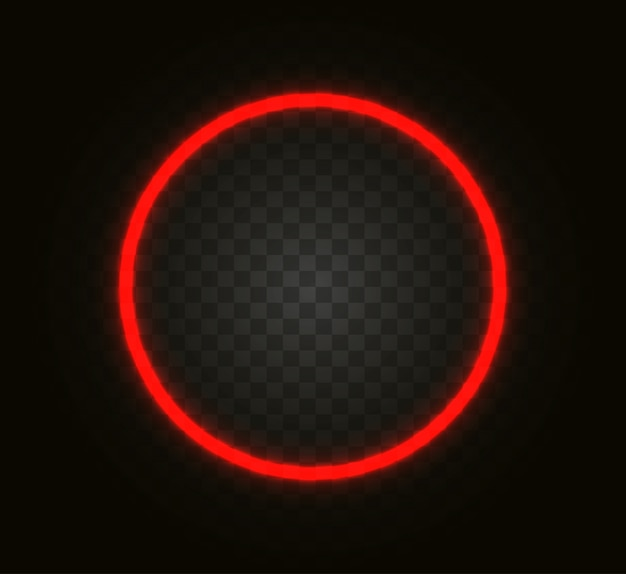 Neon circle isolated on transparent background.